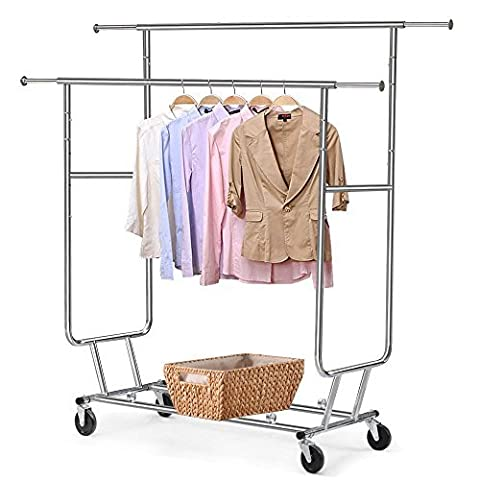 Heavy Duty Grade Collapsible Clothing Rolling Double Garment Rack Hanger Holder by panit2524