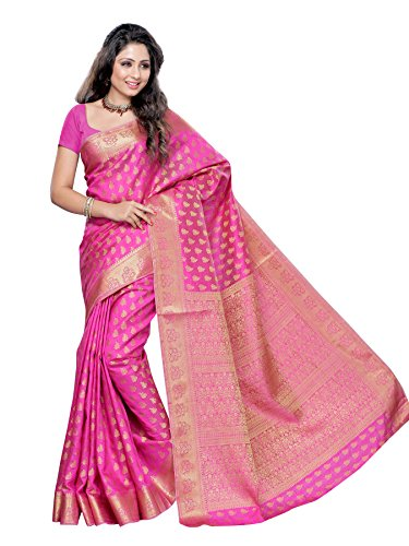 MIMOSA Women's Art Silk Saree with Blouse Piece, Free Size (2038-Pink,Pink)