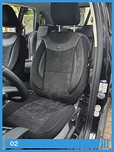 Maß Sitzbezüge kompatibel mit Nissan Qashqai II J11 Fahrer & Beifahrer ab BJ 2013 Farbnummer: 02