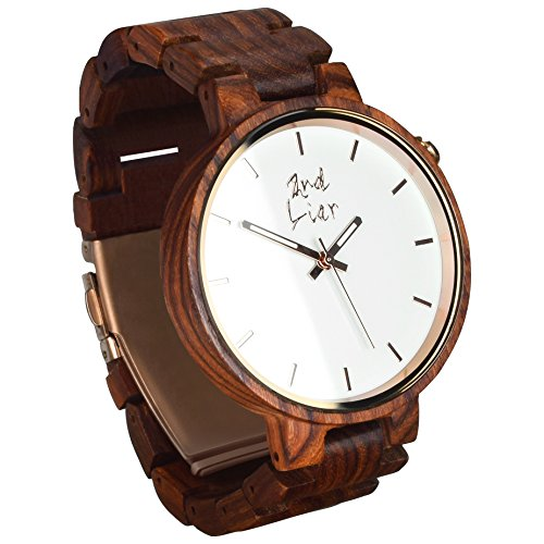 2nd Liar / Classicwatch / einzigartige, edle Holz Armbanduhr / zeitlose Armband Uhren aus Holz / vegane Holzuhr / handgefertigt, unisex / 42mm / rotes Sandelholz