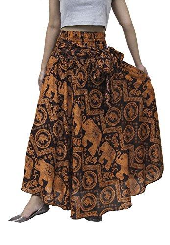 Gonna lunga da Donna stile Boemo Vita Alta di Lofbaz Design #2 arancione