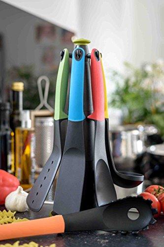 Oxid7® Küchenhelfer-Set | 7-teilig | Kunststoff mit Silikon-Griff | Mit drehbarem Ständer (bunt)
