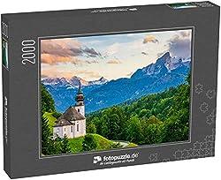 fotopuzzle.de Puzzle 2000 Teile Wunderschöner Sonnenuntergangsblick auf die Kirche Maria Gern mit dem berühmten Watzmann-Gipfel im Hintergrund