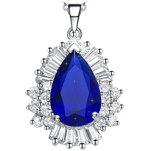 NEEMODA Kette Damen Anhänger Zirkonia Blau Halskette Schmuck geschenke für sie frauen Geburtstag jahrestag Valentinstag Weihnachten Muttertag (Blauen Saphir-gold-halskette)
