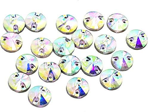 EIMASS® Strass-Kristalle mit flacher Rückseite aus geschliffenem Glas, Schmuckstücke, zum Aufnähen oder Aufkleben, 10 Stück, Clear AB Round, 14 mm