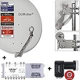 DUR-line 8 Teilnehmer Set - Qualitäts-Alu-Sat-Anlage - Select 75/80cm Spiegel/Schüssel Hellgrau + DUR-line Multischalter + LNB - Satelliten-Komplettanlage - für 8 Receiver/TV [Neuste Technik - DVB-S/S2, Full HD, 4K/UHD, 3D]