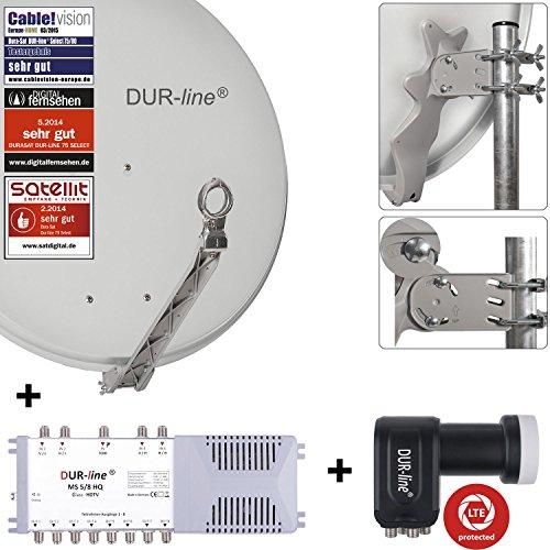 DUR-line 8 Teilnehmer Set - Qualitäts-Alu-Satelliten-Komplettanlage - Select 75/80cm Spiegel/Schüssel Hellgrau + Multischalter + LNB - für 8 Receiver/TV [Neuste Technik, DVB-S2, 4K, 3D]