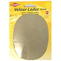 Kleiber Imitation Suede Leather Sew on Knee/Elbow Patches - Oval-12.5cm x 10cm-Beige
