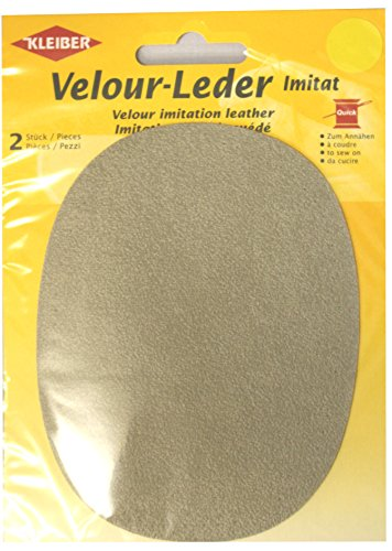 Kleiber - Rodilleras/coderas ovaladas de antelina, para coserlas, 12,5 x 10 cm, color Color beige