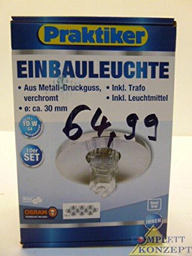 10er Set Einbauleuchte Halogen Einbaustrahler 10w chrom inkl Trafo & Leuchtmittel -