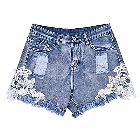 Womens Stylish Lace Stitching Jeans Shorts Comfort Fit Light Blue Shorts XL