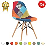 Promo 6 x Chaise Design Inspiration Eiffel Pieds Bois Clair Assise Patchwork Couleur Mobistyl® DSWL-PC-6