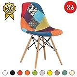 MOBISTYL 6 x Chaise Design Inspiration Eiffel Pieds Bois Clair Assise Patchwork Couleur DSWL-PC-6