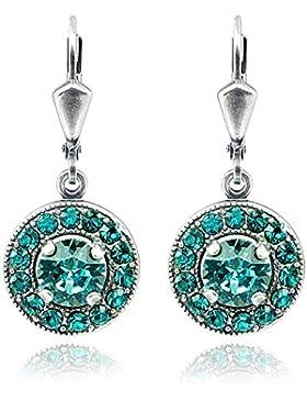 Ohrringe mit Kristallen von Swarovski® Türkis Silber NOBEL SCHMUCK