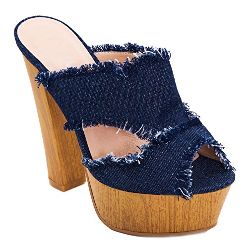 Toocool - Scarpe donna sandali sabot clogs jeans sfrangiati tacco comodo  nuove K2L9328-40 Blu