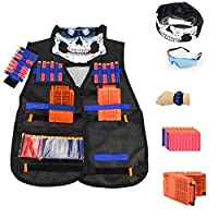 Tactical Vest Kit for Nerf Guns N-Strike Elite Series with Vest, mask, Glass,Hand Wrist Band, Clips, Darts