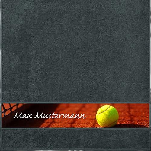 Manutextur Duschtuch mit Namen - personalisiert - Motiv Sport - Tennis - viele Farben & Motive - Dusch-Handtuch - anthrazit - Größe 70x140 cm - persönliches Geschenk mit Wunsch-Motiv und Wunsch-Name -