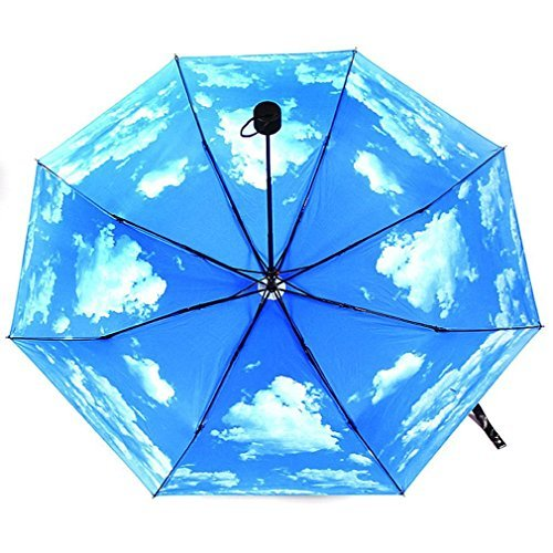 UV Protection Compact Lightweight Folding Travel umbrella Blue,Sunny Sky by Sweet decorations