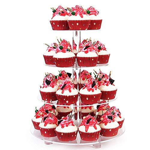 SZFLWA Cupcake Ständer, Kuchenständer 4-Stufig Acryl Halten sie Cupcakes Desserts für Nachmittagstee Party Baby Duschen Hochzeiten (Rund mit Sockel)