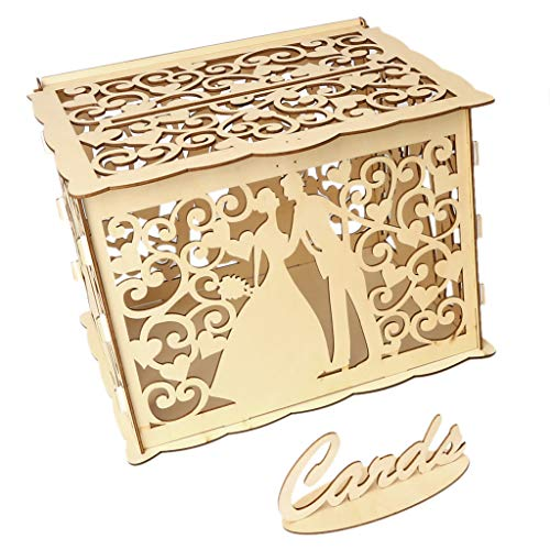 Gift Couple Lover Wooden Card Money Box Case with Lock Rustic Beautiful Birthday Party Favors Decoration Supplies ()