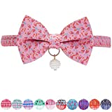 Blueberry Pet Pack of 1 Pink Tulip Floral Breakaway Bowtie Cat Collar Choker Necklace with Handmade Bow Tie and Pearl Charm, Safety Elastic Stretch Collar for Cats, Neck 21.5cm-30cm