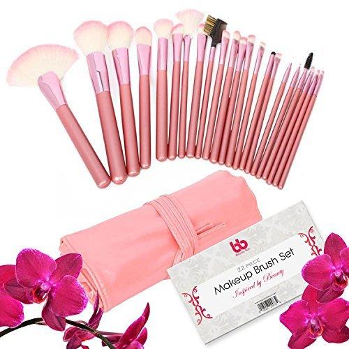 Beauty Lot de 22 pinceaux de maquillage professionnels végan avec poignée en plastique - Parfaits pour le contouring - Maquillage de précision - Étui rose inclus