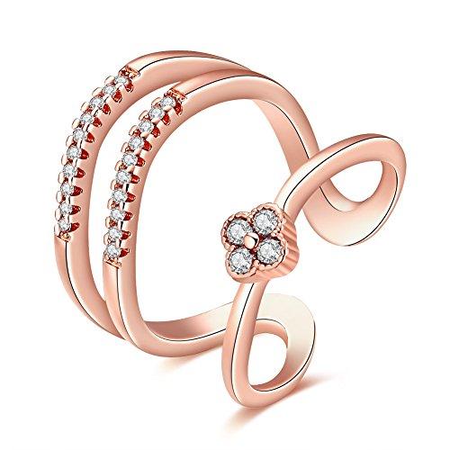 Yeahjoy da donna 3linee quadrifoglio misura regolabile anelli aperti moda Resizable cristallo anelli di pavimentazione, 18ct rosa oro, cod. LKN18KRGPR914 - 3 Linea Diamond Ring