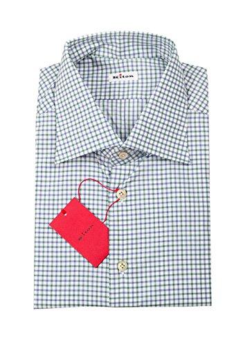 Preisvergleich Produktbild Kiton CL Checked White Blue Green Shirt 42 / 16, 5 U.S.
