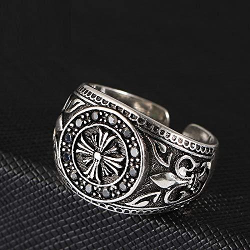 GHY Ring Kreative Retro Thai Silber Kreuzfahrer Ring Mode Black Diamond Retro Distressed Dekorativer Ring Schmuck,Bild,Einheitsgröße - Diamond Ringe Black