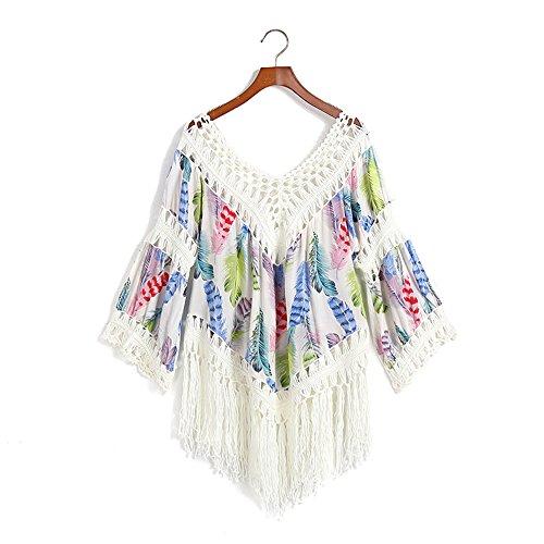 Eastlion Retro V-Kragen Bikini Bluse Quaste Strand Hemd Farbe 4