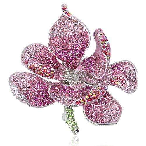 Ever Faith Damen Österreichische Kristall Bridal Orchidee Blütenblatt Brosche Rosa Silber-Ton