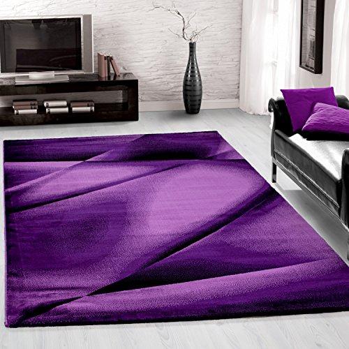 Preisvergleich Produktbild Teppiche modern designer für Wohnzimmer,  Esszimmer oder Schlafzimmer, kurzflor Wellenteppich meliert mit modernen Farben wie Violett Schwarz und Weiss_6590,  Maße:160x230 cm