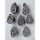 Wooden Block Stamps 7pcs Set 2.5 Inches Printing Block Hand Carved Fabric Printing Block Textile Printing Henna Block Scrapbook Print And Home Decor Etc
