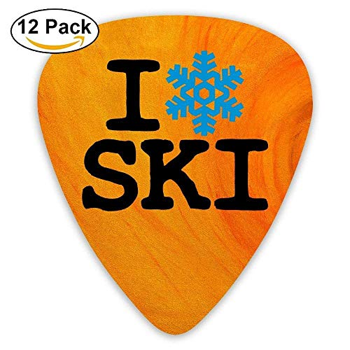Celluloid Guitar Picks Electric Guitar Plectrums,Print I Snowflake Ski,12 Pack -