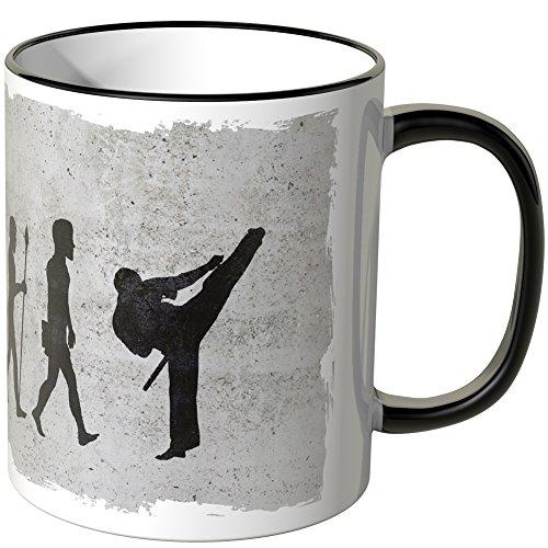 JUNIWORDS Tasse - Wähle Motiv & Farbe -Evolution Karate - Schwarz