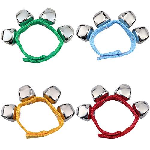 Handgelenk Glocken, Homgaty Armbänder mit Strong Straps, Einstellbare Armband Handgelenk Tamburine für Kinder Spielzeug, Schlaginstrumente, Party, Tanz (4 Stück) -