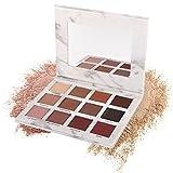 Paleta de sombra de ojos, Angmile mate brillante, purpurina, sombra de ojos, imprimación, 12 colores, impermeable, paleta de maquillaje de mármol, cosméticos