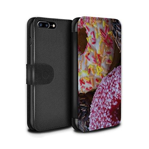 Stuff4 Coque/Etui/Housse Cuir PU Case/Cover pour Apple iPhone 7 Plus / Chocolat/Rose Design / Beignets Savoureux Collection Rose/Blanc