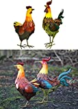 east2eden Realistic Hen Chicken Cockerel Metal Outdoor Garden Ornament in Choice of Designs & Deals (Set of 2 Assorted)