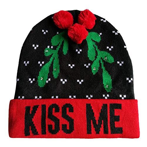 Xmas Christmas Beanie Hut Kapuze für Weihnachten Malloom, LED Light up Gestrickter hässlicher Pullover Holiday (Pullover Light Herren Weihnachten Up)