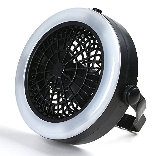 ODOLAND Ventilator LED Laterne, 2-in-1 Fan Camping Lampe tragbare Ventilator Camping Laterne Zeltlampe Campinglampe mit 12 LED für Outdoor Wandern Camping Garten