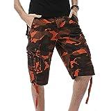 Herren Shorts Hose Xinantime 2018 Trend Camouflage Pocket Beach Work Cargo Shorts Kurze Hose Männer Orange/Blau/Khaki/Grün 29-40 (EU 34, Orange)