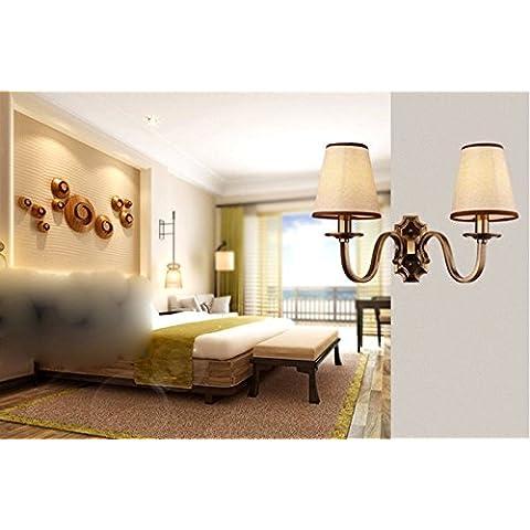 YM@YG Continentale moderna illuminazione a led lampade lampada salotto camera da letto sala da pranzo pulsante tessuto testiera parete Applique in ferro,2