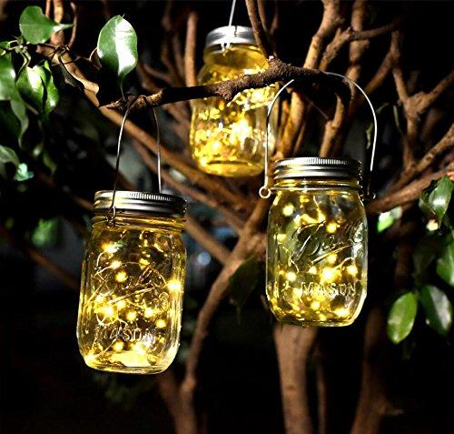 (Solar Mason Jar Lichter Solarlicht Feen Lichter led Solarleuchten mit 10 LED für Gartendekoration Party Veranstaltungen Hochzeit Urlaub (Warmes Gelb 4 Stück))