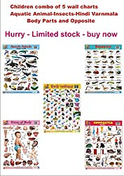 Wall CHARTS PLASTIC NON TEARABLE Combo Set of 5 Wall Chart of Aquatic Animals,Insects,Hindi Varnmala,Body Parts and Opposite by Aadi Publication