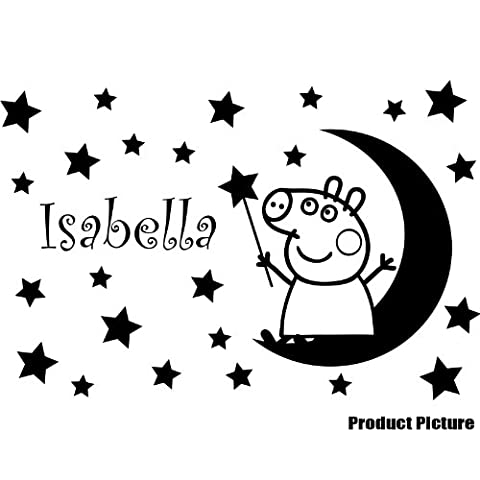 Peppa Pig with your Chosen name 60 cm x 40 cm Choose colour 18 colours in stock Moon, Stars, Personalised name, Any name, Childs Bedroom, Children Room Stickers, Car vinyl, Windows and Wall Sticker, Wall Windows Art, Decals, Ornament Vinyl Sticker ThatVinylPlace