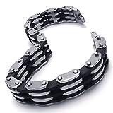 Konov Jewellery Mens Stainless Steel Rubber Bracelet Bangle, Colour Silver & Black, Length 8 4/5 inch (with Gift Bag)
