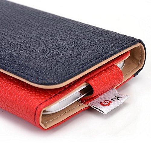 Kroo Pochette Téléphone universel Femme Portefeuille en cuir PU avec dragonne compatible avec HTC Desire 326g Dual SIM Violet - violet Multicolore - Blue and Red