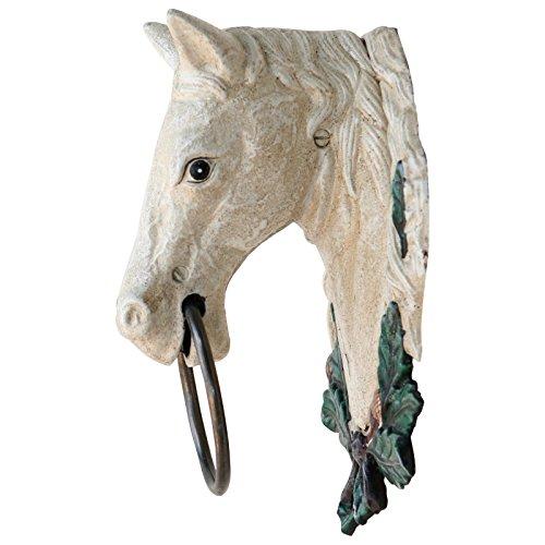 Ellas-Wohnwelt Pferdekopf Gusseisen Schimmel Pferd Handtuchhalter Pferdestall Haus Garten -