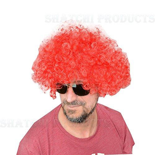 Gifts 4 All Occasions Limited SHATCHI-1457 Shatchi-RED Peluca afro rizada para disfraz, accesorio para disfraz, payaso de discoteca, unisex, 70 S